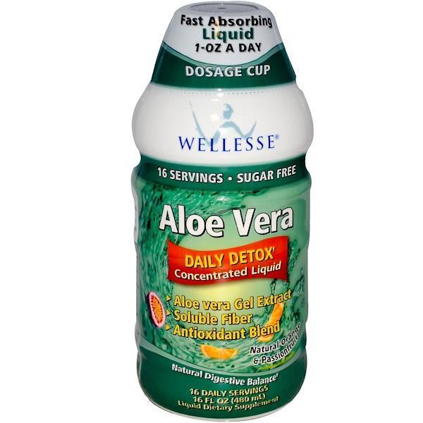 Wellesse Premium Liquid Supplements, Алоэ Вера, без сахара, натуральный вкус апельсина и маракуйи 16 жидких унции (480 мл) (Discontinued Item)