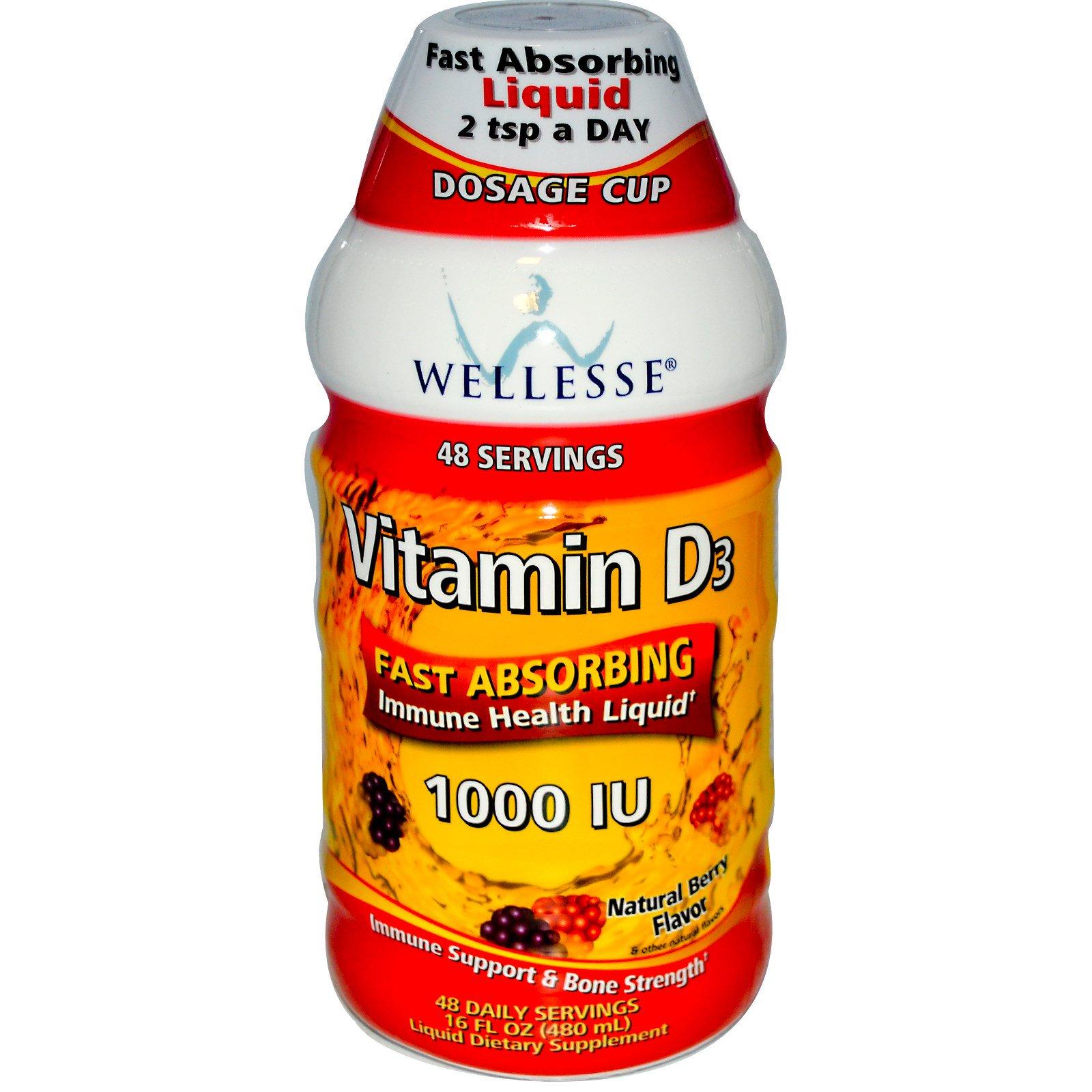 Wellesse Premium Liquid Supplements, Витамин D3, натуральный кус вишни, 1000 МЕ, 16 жидких унций (480 мл)