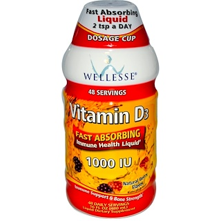 Wellesse Premium Liquid Supplements, 비타민 D3, 천연 베리 맛, 1000 IU, 16 액량 온스 (480 ml)