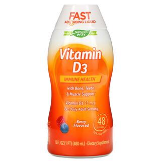 Nature's Way, Vitamina D3, Sabor Natural de Frutas Vermelhas, 1.000 UI, 16 onças fluidas (480 mL)