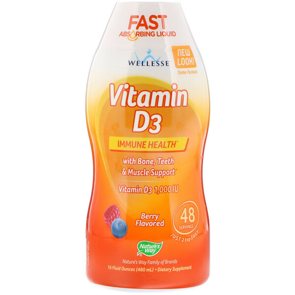 Nature's Way, Vitamin D3, Natural Berry Flavor, 1,000 IU, 16 fl oz (480 ml)