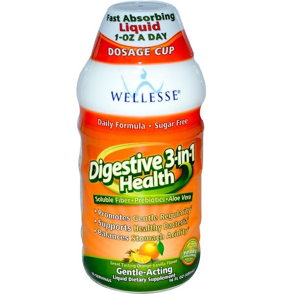 Wellesse Premium Liquid Supplements, Digestive 3-in-1 Health, Orange-Vanilla Flavor, 16 fl oz (480 ml) (Discontinued Item)