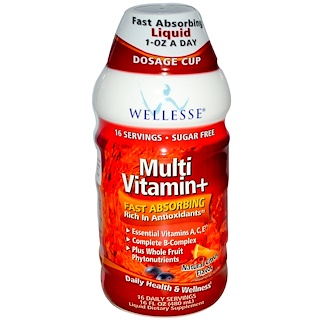 Wellesse Premium Liquid Supplements, Multi Vitamin+, sin azúcar, sabor citrus natural, 16 fl oz (480 ml)