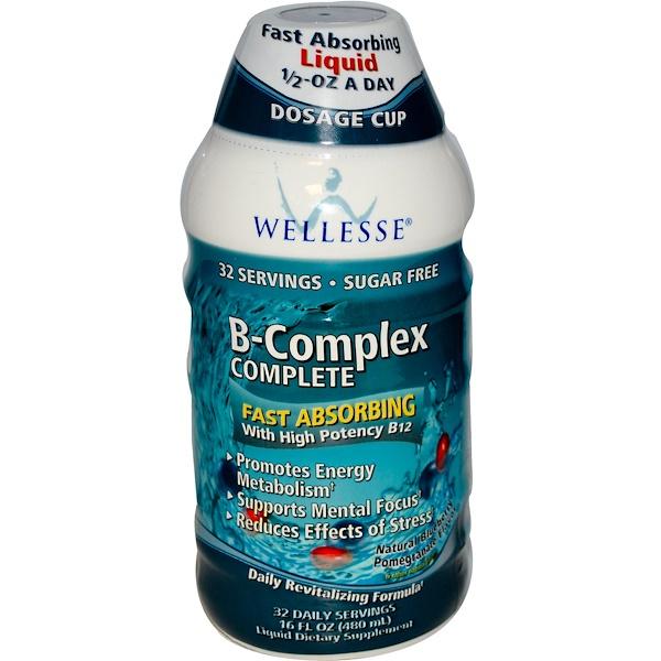 Wellesse Premium Liquid Supplements, B- комплекс, Вкус граната и черники 16 жидких унции (480 мл) (Discontinued Item)