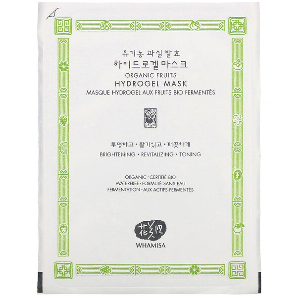 Whamisa, Organic Fruits, Hydrogel Mask, 1 Sheet