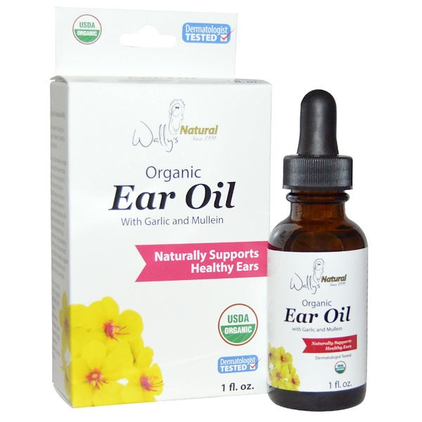 Wally's Natural, Organic Ear Oil with Garlic and Mullein, 1 fl oz