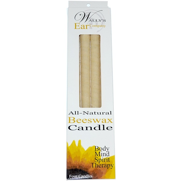 Wally's Natural, Beeswax Candle, 4 Candles (Discontinued Item)
