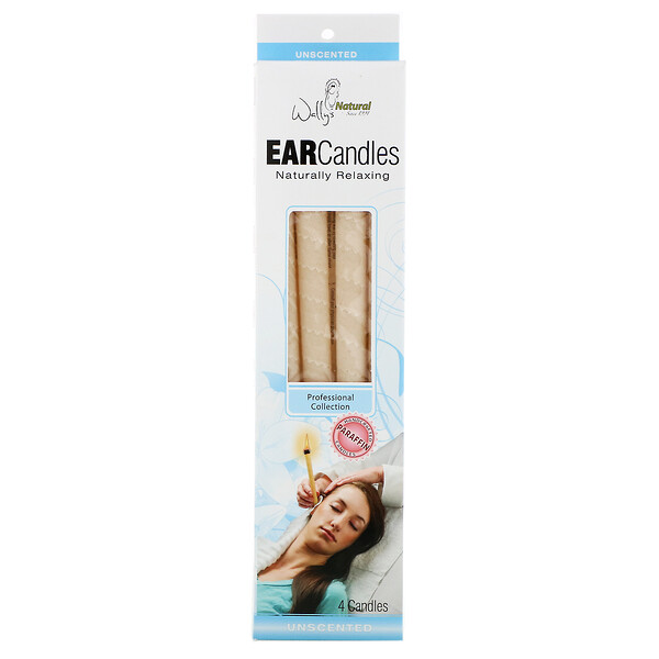 Wally's Natural, Professional Collection, Paraffin Ear Candles, Unscented, 4 Pack