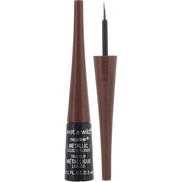 Wet n Wild, قلم تحديد العين السائل MegaLiner اللامع، بني لامع، 0.12 أوقية (3.5 جم)