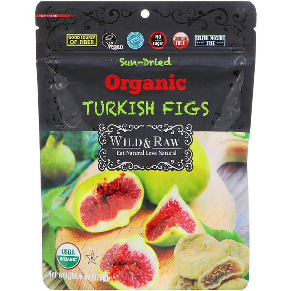 Wild & Raw, Sun-Dried, Organic Turkish Figs, 6 oz (170 g)