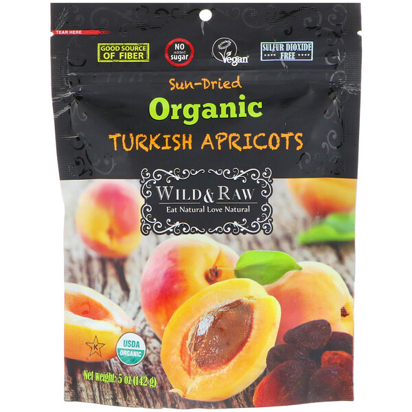 Wild & Raw, Sun-Dried, Organic Turkish Aprricots, 5 oz (142 g)