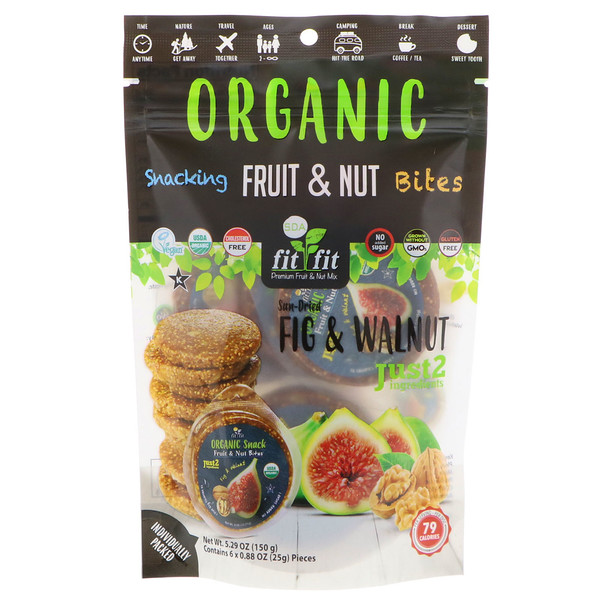 Nature's Wild Organic, Organic, Snacking Fruit & Nut Bites, Sun-Dried Fig & Walnut, 6 Pack, 0.88 oz (25 g) Each (Discontinued Item)