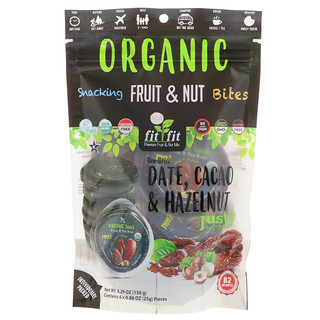 Nature's Wild Organic, Organic, Snacking Fruit & Nut Bites, Sun-Dried Date, Cacao & Hazelnut, 6 Pack, 0.88 oz (25 g) Each