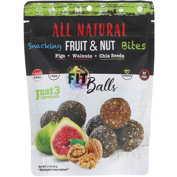 All Natural, Snacking Fruit & Nut Bites, Fit Balls, Figs + Walnuts + Chia Seeds, 5.1 oz (144 g)