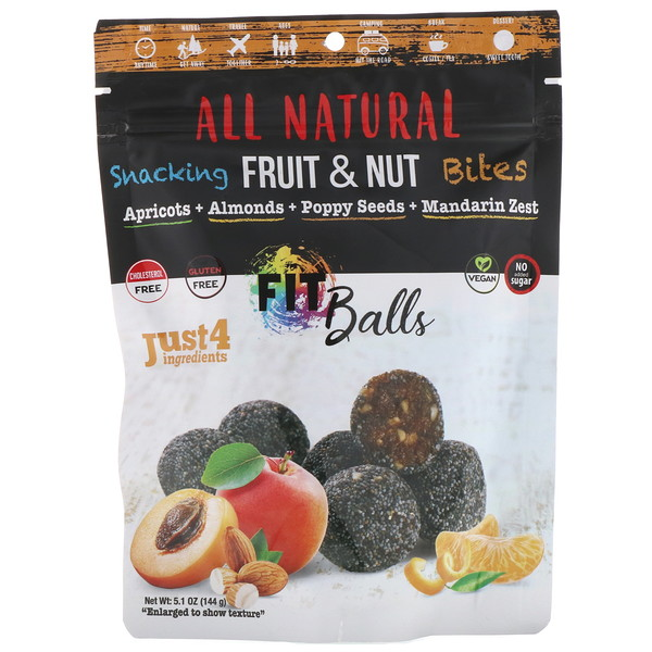 Nature's Wild Organic, All Natural, Snacking Fruit & Nut Bites, Fit Balls, Apricots + Almonds + Poppy Seeds + Mandarin Zest, 5.1 oz (144 g) (Discontinued Item)