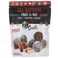 All Natural, закуска из фруктов и орехов, фит-шарики, финики + фундук + кокос, 5,1 унции (144 г) - фото