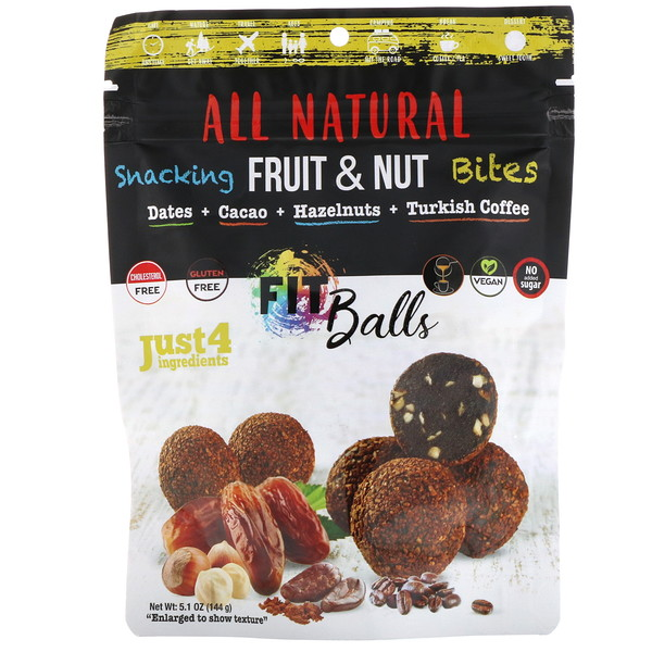 Nature's Wild Organic, All Natural, Snacking Fruit & Nut Bites, Fit Balls, Dates + Cacao + Hazelnuts + Turkish Coffee, 5.1 oz (144 g) (Discontinued Item)