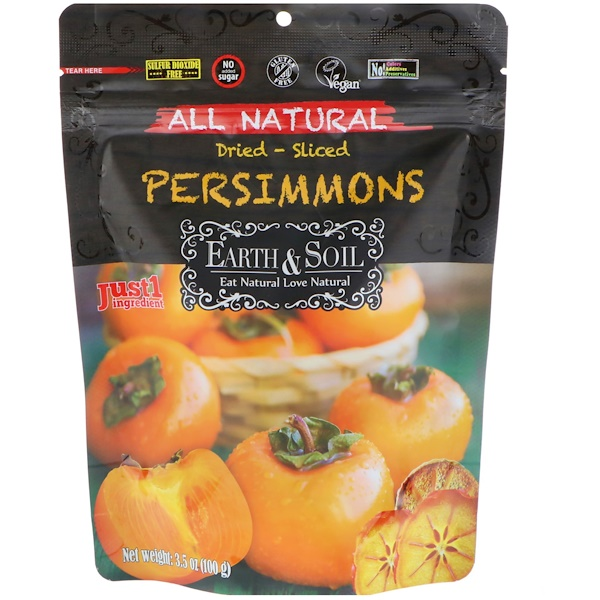 Nature's Wild Organic, Earth & Soil, All Natural, Dried-Sliced Persimmons, 3.5 oz (100 g) (Discontinued Item)