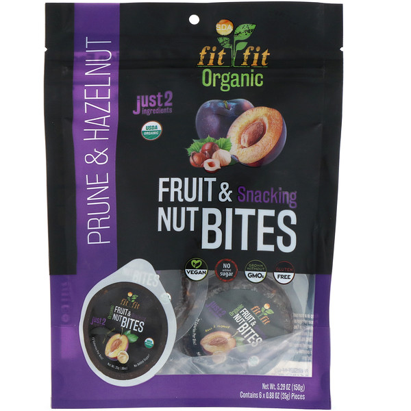 Nature's Wild Organic, Organic, Fruit & Snacking Nut Bites, Prune & Hazelnut, 6 Pack, 0.88 oz (25 g)