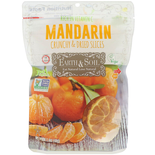 Earth & Soil, Crunchy & Dried, Mandarin Slices, 1.40 oz (40 g)