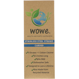 Wowe, Stainless Steel Straws, Curved, 8 Straws + 1 Cotton Cleaner