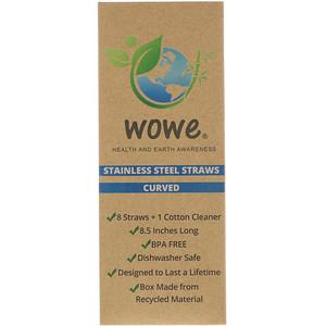 Wowe, Stainless Steel Straws, Curved, 8 Straws + 1 Cotton Cleaner отзывы покупателей
