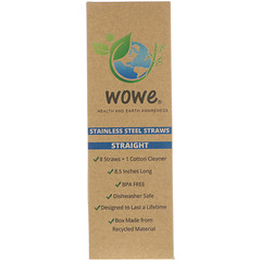 Wowe, Stainless Steel Straws, Straight, 8 Straws + 1 Cotton Cleaner