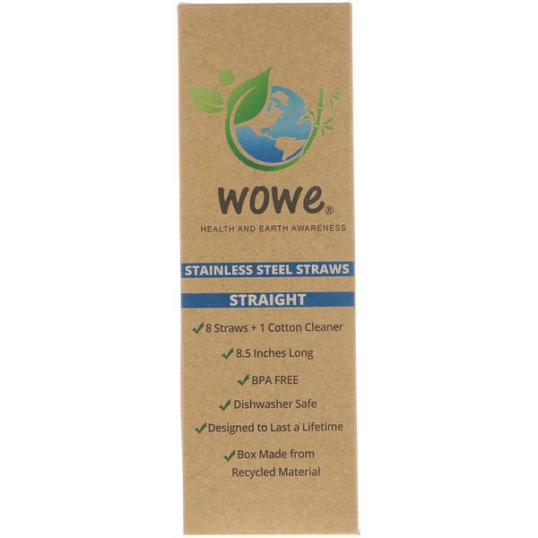 Wowe, Stainless Steel Straws, Straight, 8 Straws + 1 Cotton Cleaner (Discontinued Item)