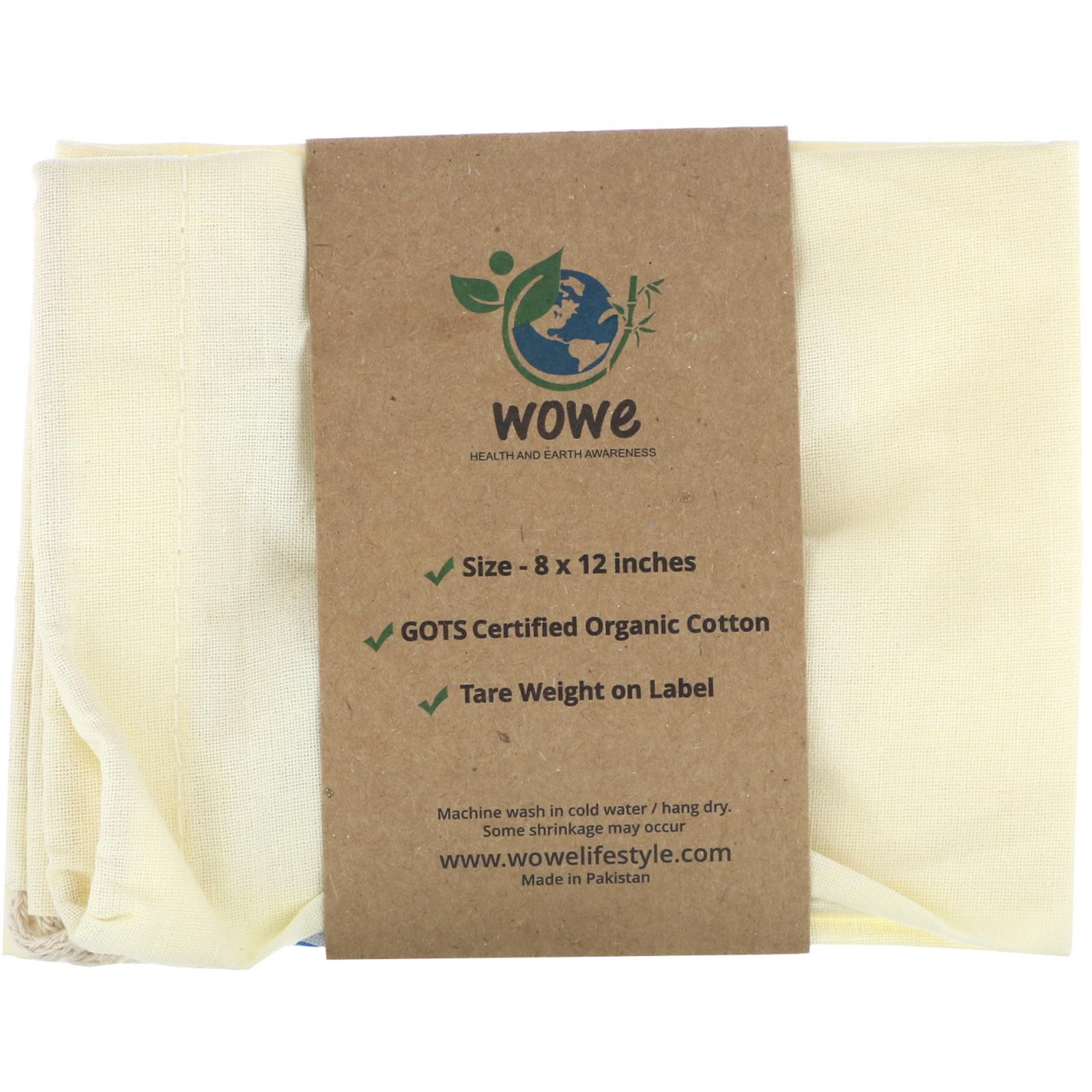 Wowe Certified Organic Cotton Muslin Bag 1 8 In X 12