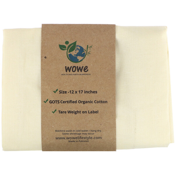 Wowe, Certified Organic Cotton Muslin Bag, 1 Bag, 12 in x17 in