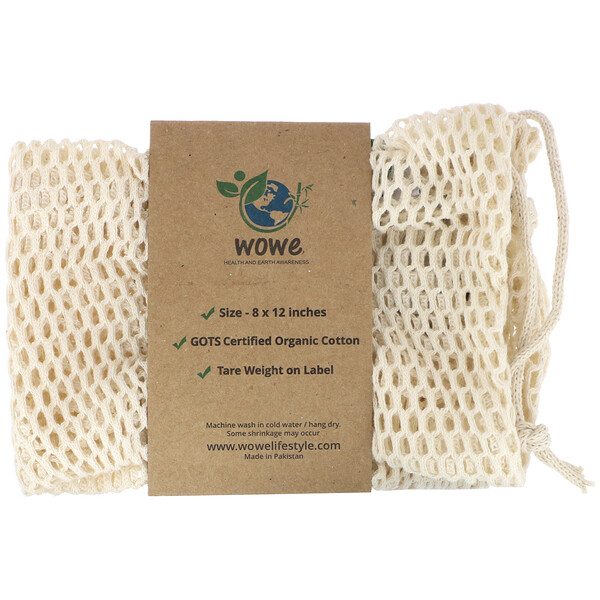 Wowe, Certified Organic Cotton Mesh Bag, 1 Bag, 8 in x 12 in