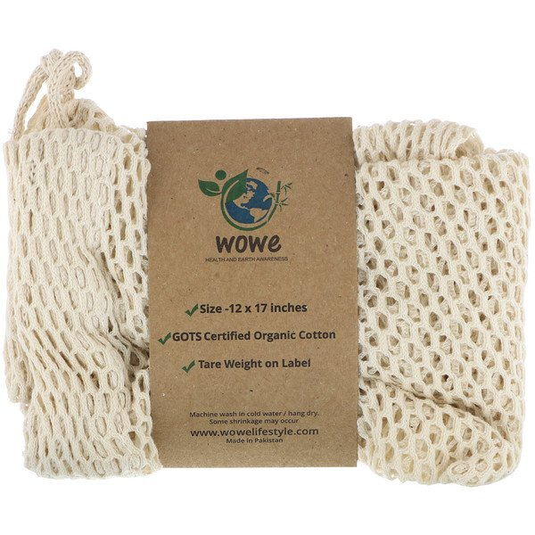Certified Organic Cotton Mesh Bag, 1 Bag, 12 in x 17 in
