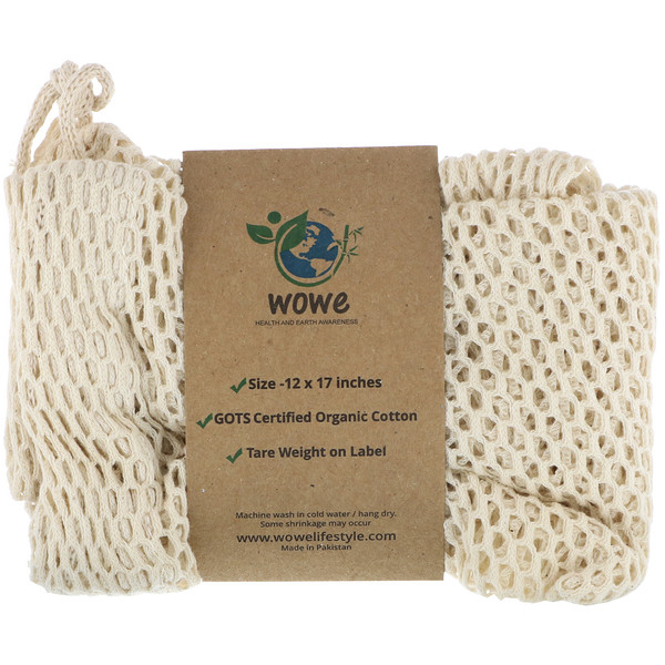 Wowe, Certified Organic Cotton Mesh Bag, 1 Bag, 12 in x 17 in