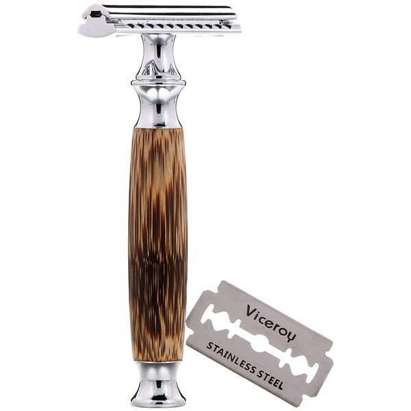 Double Edge Safety Razor with Bamboo Handle, 1 Razor, 5 Blades