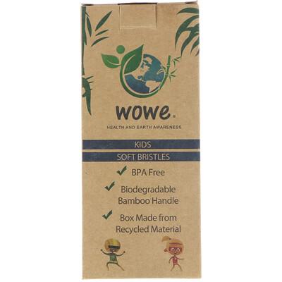 Wowe Зубная щетка из натурального бамбука, Для детей, Мягкая щетина, Упаковка из 4 штук  - купить со скидкой
