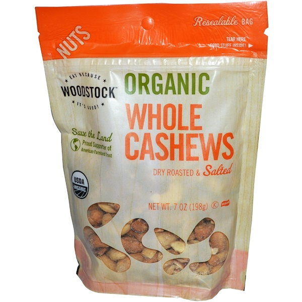 Woodstock, Organic Whole Cashews, Dry Roasted & Salted, 7 oz (198 g) (Discontinued Item)