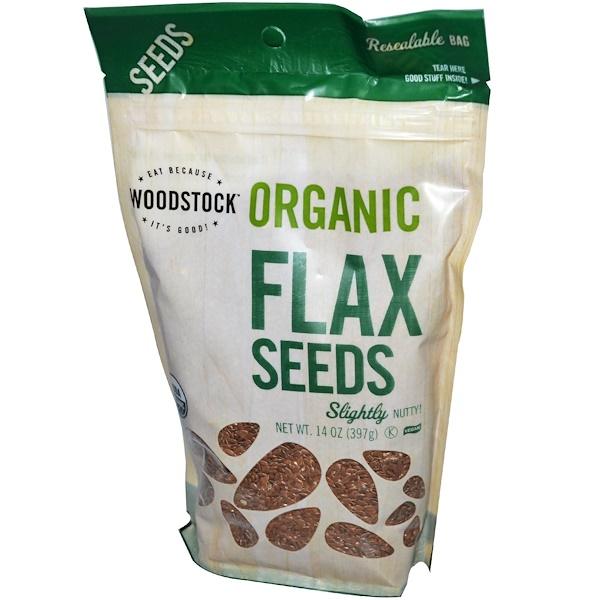 Woodstock, Органические семена льна 14 унции (397 г) (Discontinued Item)