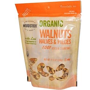 Вудсток, Organic Walnuts, Halves and Pieces, 5.5 oz (156 g) отзывы покупателей