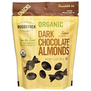 Woodstock, Organic, Dark Chocolate Almonds, 6.5 oz (184 g)