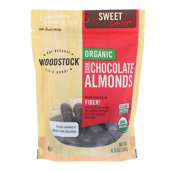 Woodstock, Organic, Dark Chocolate Almonds, 6.5 oz (184 g) (Discontinued Item)