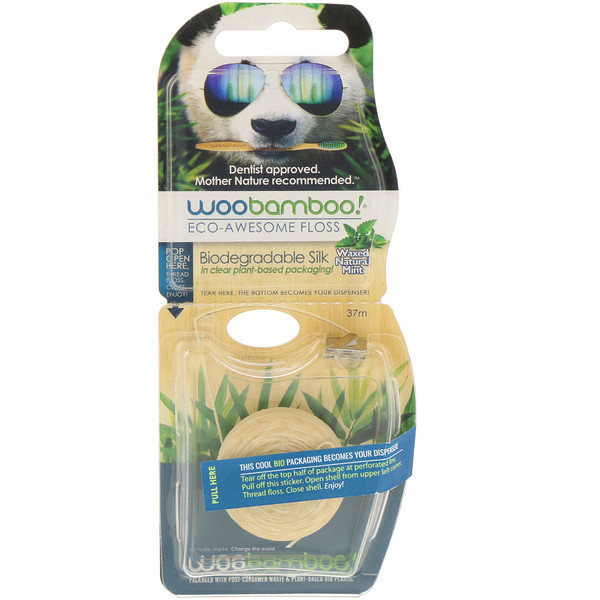 Woobamboo, Eco-Awesome Floss, Biodegradable Silk, Natural Mint, 37 m