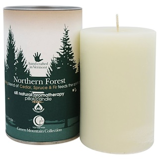 "Way Out Wax, Green Mountain Collection, Pillar Candle, Northern Forest, One 2.75"" x 4"" Candle"