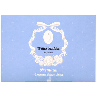 White Rabbit, Premium Cosmetic Cotton Sheet, Perforated, 200 Sheets