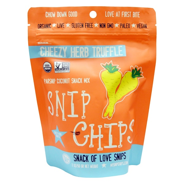Sejoyia, Snip Chips, Parsnip Coconut Snack Mix, Cheezy Herb Truffle, 2 oz (56 g) (Discontinued Item)