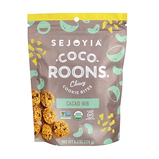 Sejoyia Foods, Coco-Roons, Chewy Cookie Bites, Cacao Nib, 6.2 oz (176 g)