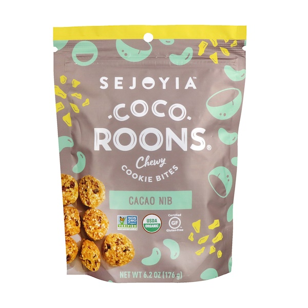 Sejoyia Foods, Coco-Roons, Chewy Cookie Bites, Cacao Nib, 6、2 oz (176 g)