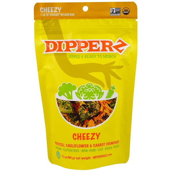 Sejoyia, Dipperz, Broccoli, Cauliflower and Carrot Crunchies, Cheezy, 1.5 oz (44 g) (Discontinued Item)