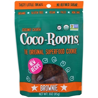Sejoyia Foods, Organic Coconut Cashew Coco-Roons, Brownie, 3 oz (85 g)