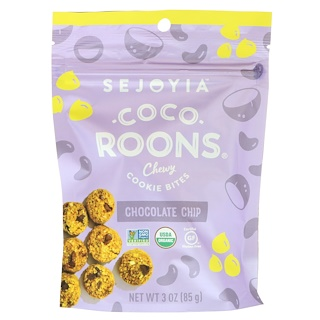 Sejoyia, Coco-Roons, Chewy Cookie Bites, Chocolate Chip, 3 oz (85 g)