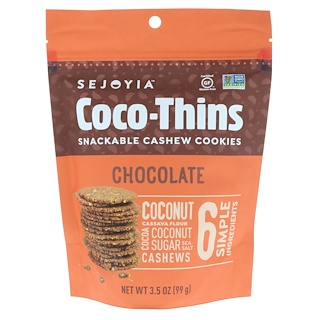 Sejoyia, Coco-Thins, Snackable Cashew Cookies, Chocolate, 3.5 oz (99 g)